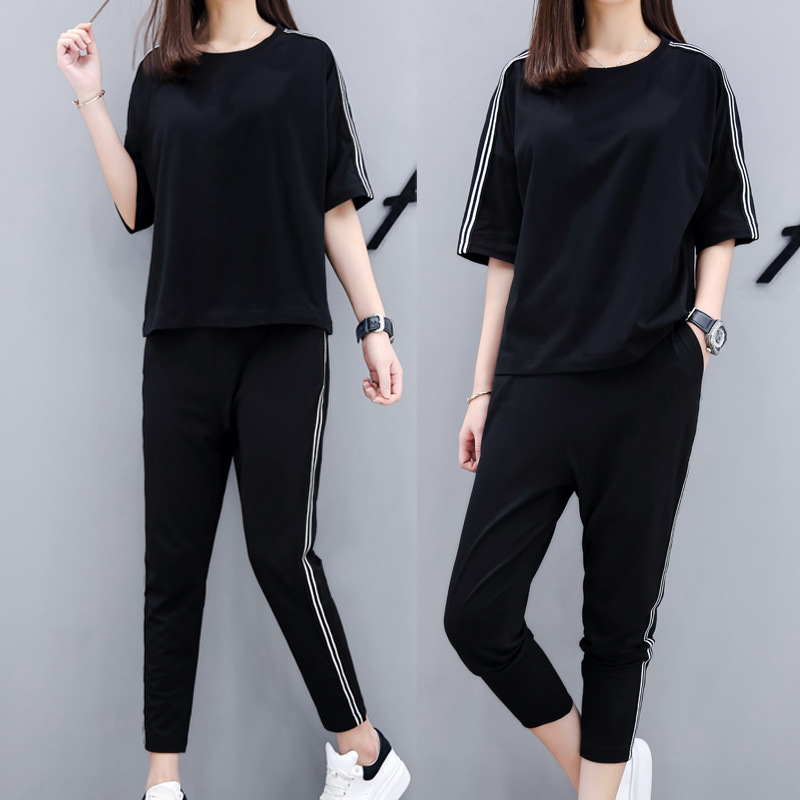 Sports WOMEN'S Suit Summer 2020 Loose-Fit Fashion Casual Korean-style Students Short Sleeve T-shirt Harem Pants Two-Piece Set Fa