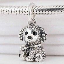 Original Pudel Welpen Hund Mit Herz Tag & Nur Weil Anhänger Perlen Fit 925 Sterling Silber Charme Europa Armband Diy schmuck