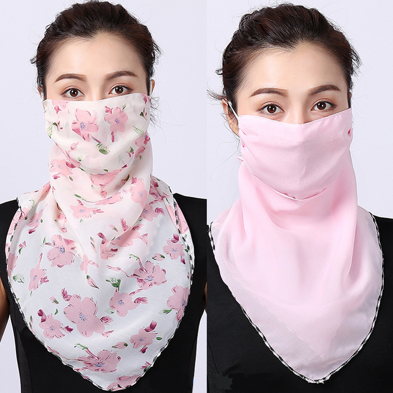Face Mask Scarf Women Outdoor Chiffon Face Mouth Masks Sunscreen Rings Neck Cover Silk Shawl Handkerchief Sun Protection Bandana