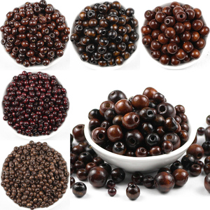 HGKLBB 500pcs Brown Round Natural Wooden Beads 5/6/8/10/12MM Eco-Friendly wood Loose beads for Jewelry making bracelet craft DIY