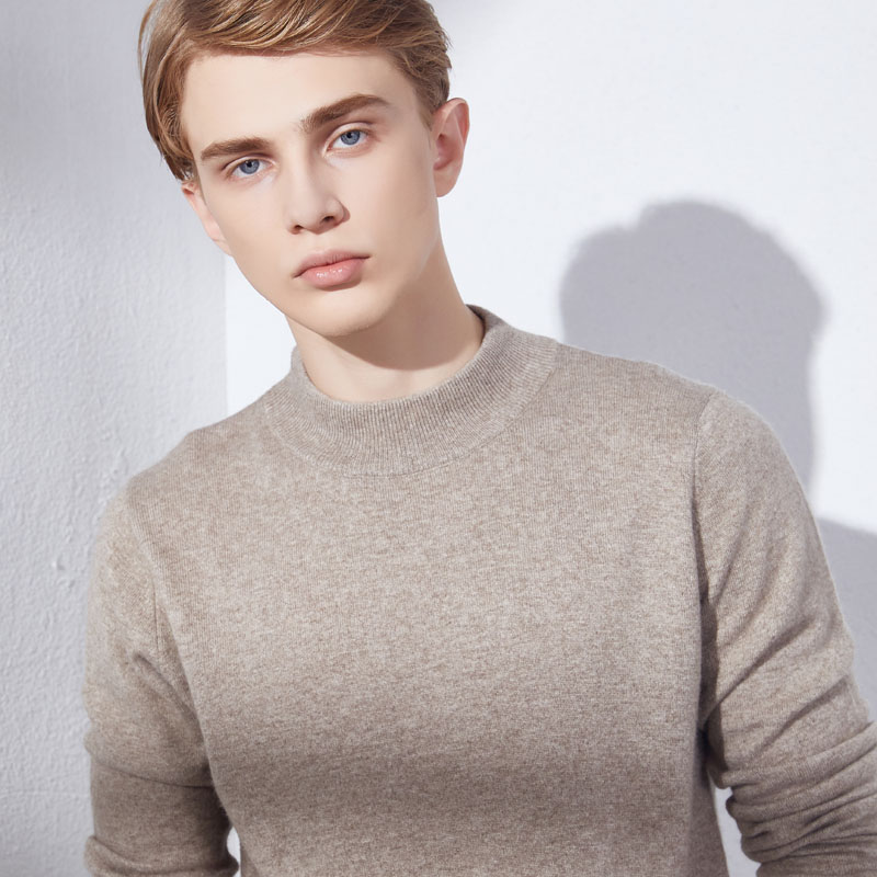 Half-High Neck Sweater For Man Soft 100% Cashmere Knitted Pullovers 2019 Winter New Fashion Male Jumpers Clothes