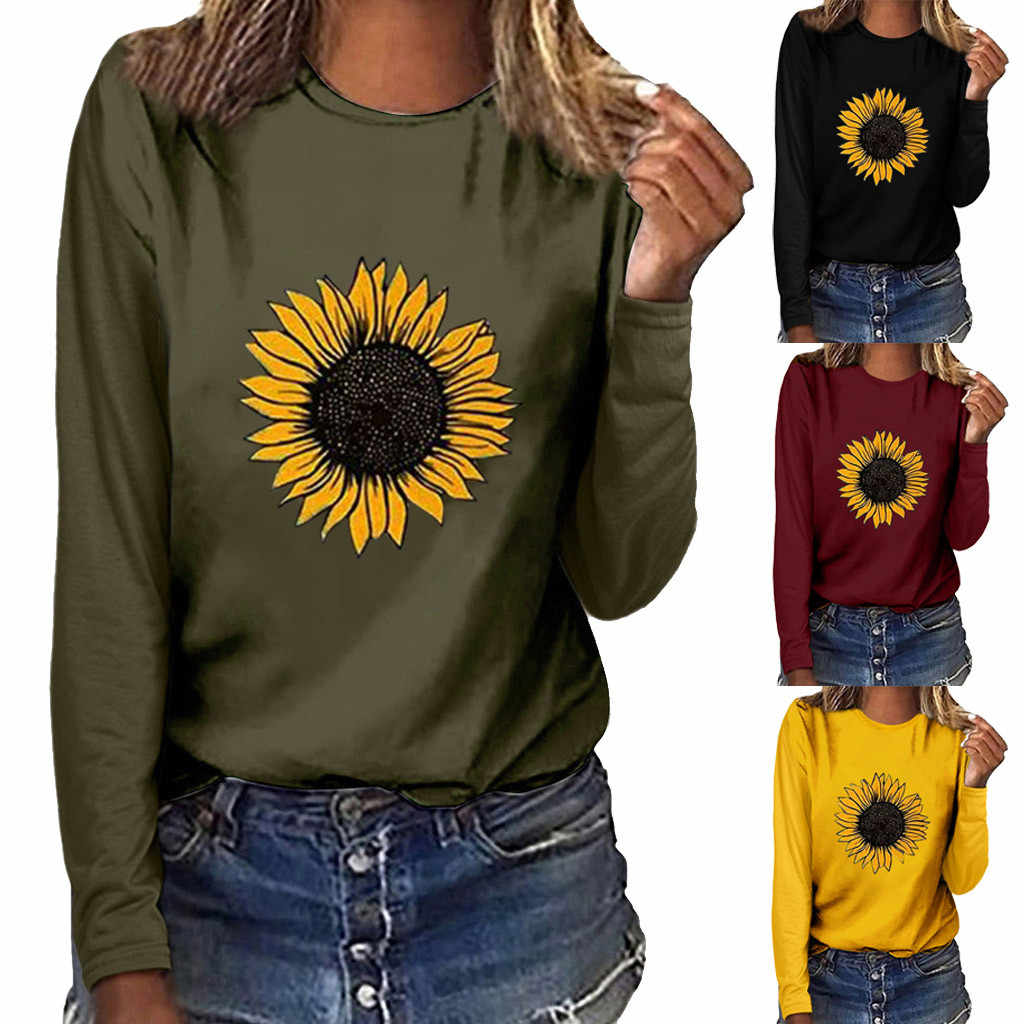 Women Sunflower Print T-Shirts Tops O-neck Loose And Breathable Long Sleeve Pullover Sweatshirt Summer lady T-shirt Blusa