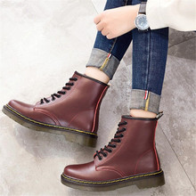 Quality Assurance 100% cowhide leather women's boots tube couple winter boots womens ankle boots for women shoes zapatos mujer