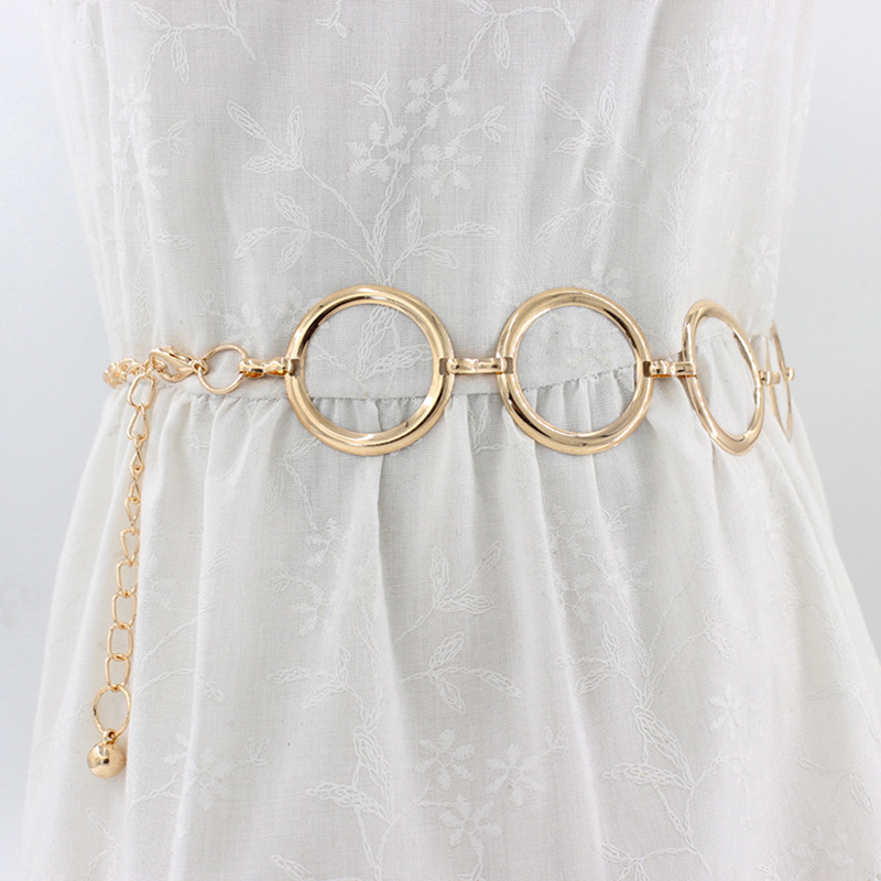 Women Metal Belt Elegant Gold Female Waist Chain Dress Decoration Big Ring Belt