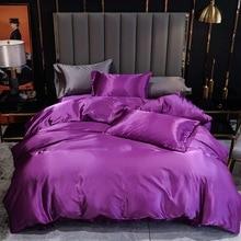KOTUDENAVY  New Satin Silk Solid Color Bedding Sets Home Textile Twin Queen King Size Bed Sets High-End Duvet Cover Sets