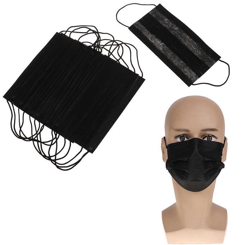 Máscara protetora descartável da boca do algodão preto de 10 pces máscara protetora máscara médica anti-poeira máscara 3 filtro earloop ativado carb hipoalerge
