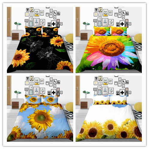 Fashion Sunflower Bedding Sets Queen/Twin/King Size Quilt Cover Set  2019 Bed Decoration For Home And Gifts