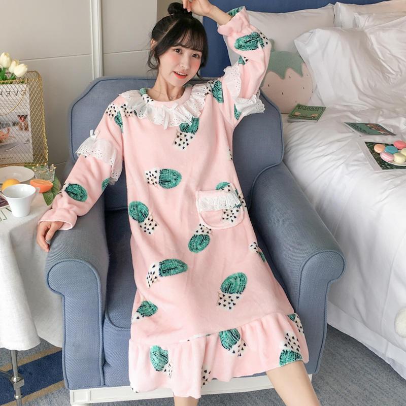 Winter Women Thicken Flannel Princess Style Nightgowns Lace Girls Warm Night Dress Cute Sleepwear Coral Fleece Sleep Lounge