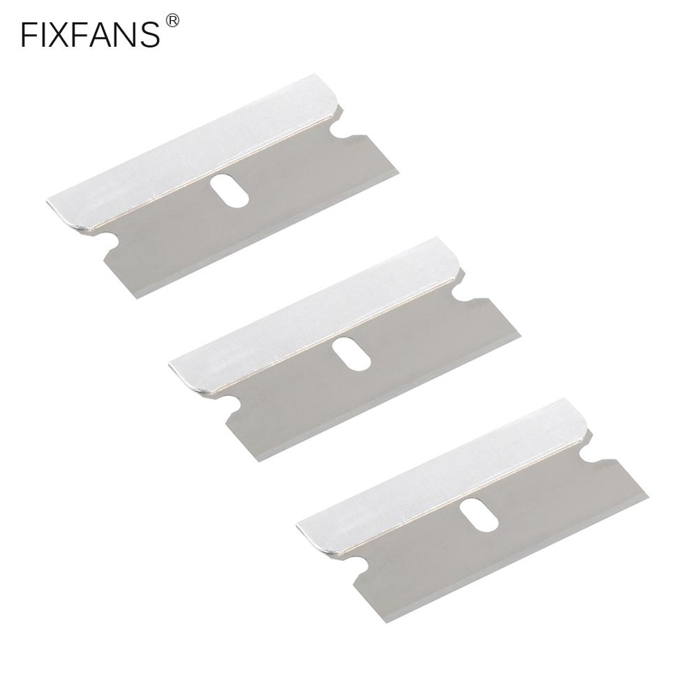 FIXFANS 10Pcs Single Edge Industrial Razor Blade Carbon Steel Blades For Standard Safety Scrapers, Removing Paint And Decals