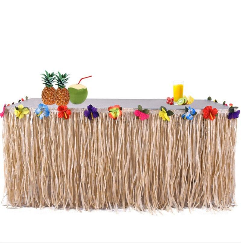 2pcs Hawaiian Grass Skirt Picnic Birthday Million Christmas Ball Party Decorations Plastic Table Grass Skirt Table Skirt