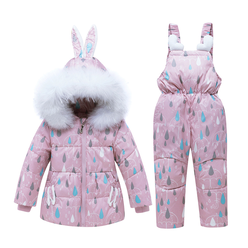 Children Clothing Set Winter Warm Baby Boy Clothes Kids Ski Snow Suits Overalls Down Jackets For Girls Outerwear Coat + Jumpsuit