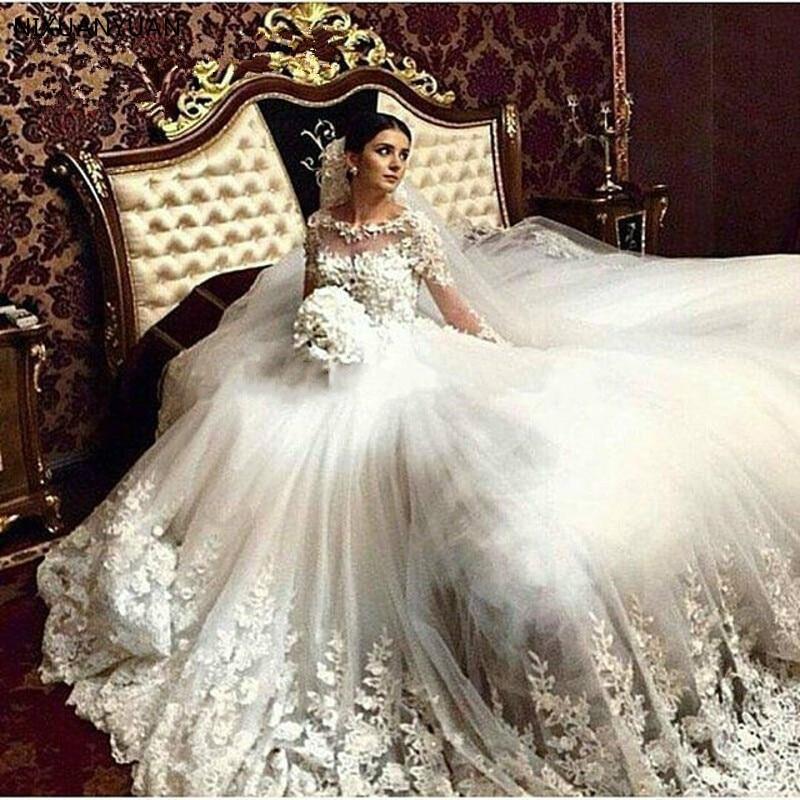 Princess Cathedral Train Vintage Wedding Dress 2019 Lace Appliques Long Sleeves Tulle Vestido De Noiva Robe De Mariee