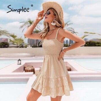 Simplee Apricot Cotton Wrap A-line Women Dress 2021 Casual Summer Spaghetti Strap Beach Sundress Bodycon Sleeveless Vestidos New 1