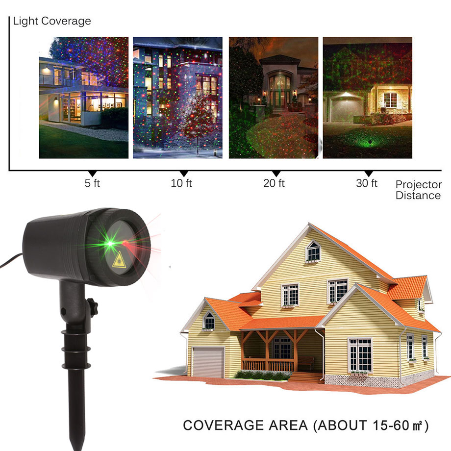 Outdoor Laser Lights Christmas Lawn Projector Holiday Decor With Remote Red Green Color Moving Effect Waterproof - 6
