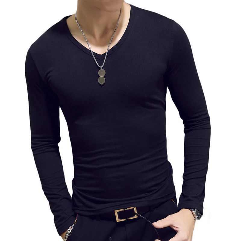 Camisetas masculinas manga longa o pescoço casual outono fitness jogging sólido tshirt moda t básico correndo homme roupas superiores 7 cores