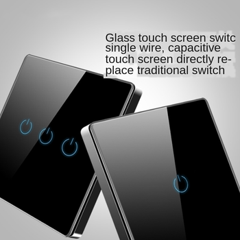 Tempered glass wall socket single live wire single double-control touch switch five-hole socket touch intelligent switch panel image