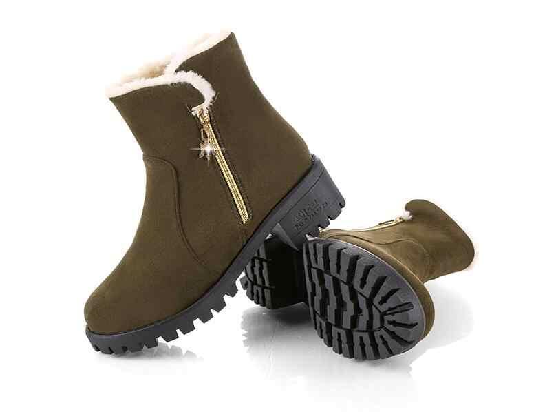 YeddaMavis Giày Xám Dây Kéo Bên Hông Ấm Ủng Mùa Đông Giày Nữ Hàn Quốc Mới Hoang Dã Nữ Giày Nữ Giày Nữ Người Phụ Nữ giày