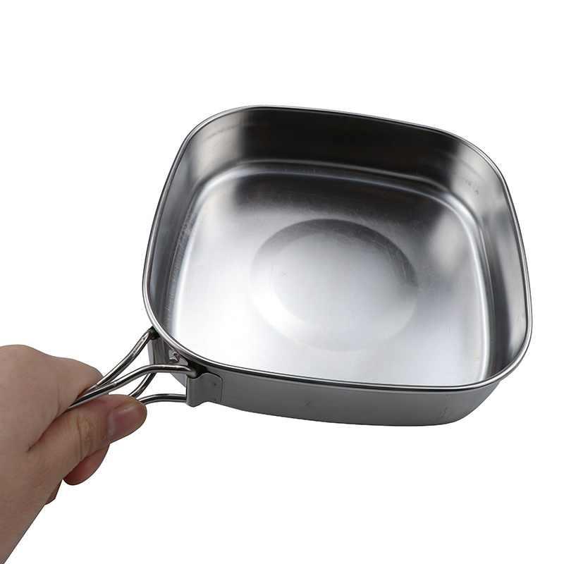 2 чашки + 2 блюда + 1 суп горшок + 1 сковорода кемпинг дорожная посуда набор столовых приборов посуда походный набор для пикника Yq