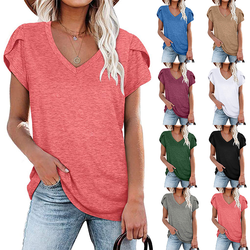 2021 Fashion New Women T-Shirt Elegant Solid Color Ladies Tee Casual V-Neck Short Sleeve Female Tops