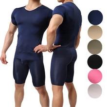 Men Clothes Set Mens Undershirts Homme Underwear Short Sleeve T-shirts Slim Fitness Tops Pajamas Pants Bulge Pouch Sleep Bottoms
