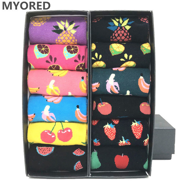 MYORED 12 pairs / lot colorful For mens cotton funny winter Warm fruit socks novelty Fashionable mens wedding sock gift NO BOX