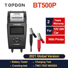 TOPDON BT500P 12V 24V Car Battery Tester with Printer Battery Load Test Motorcycle Auto Charging Cranking Battery Analyzer
