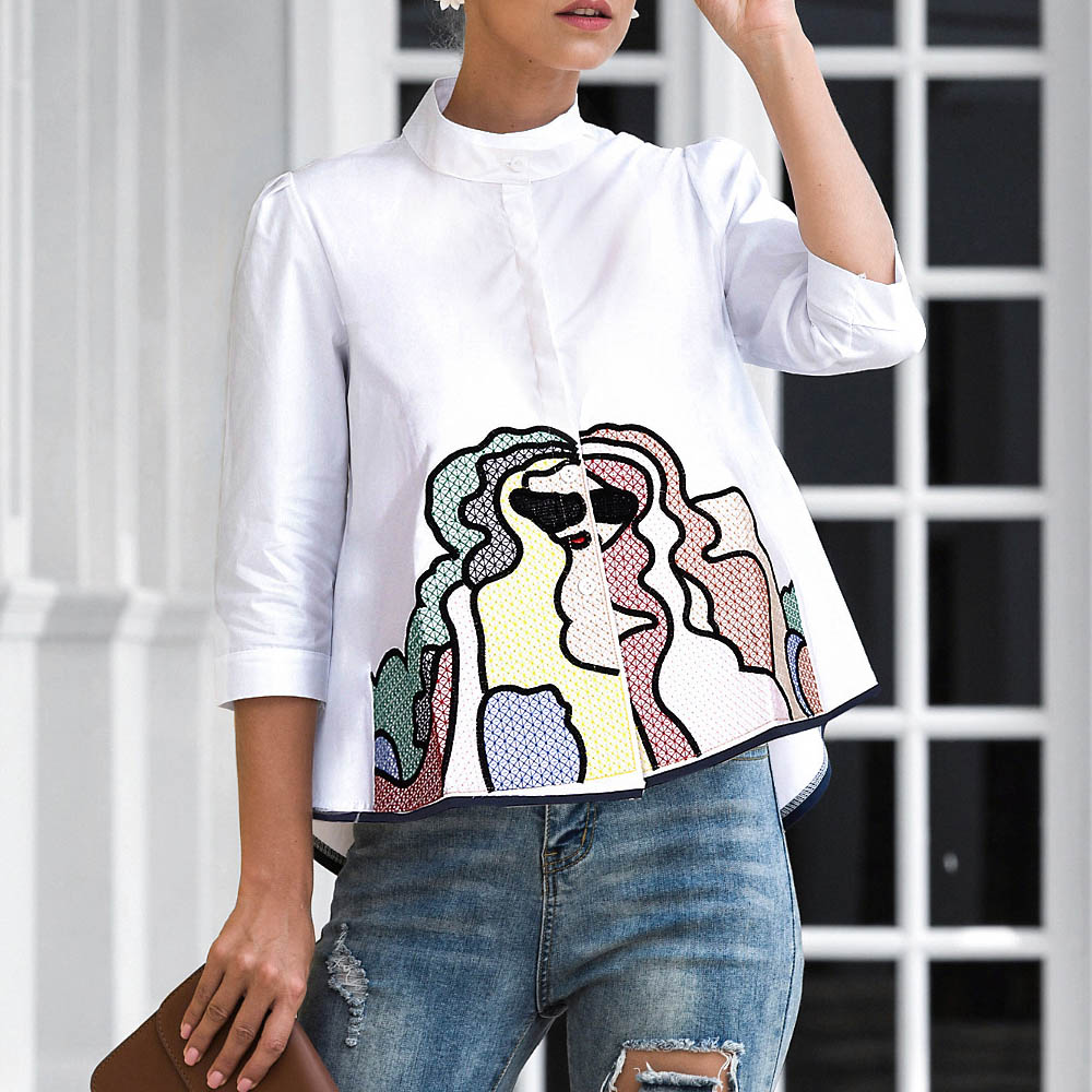 Abstract Embroidery Shirt Tops Women Summer Autumn Fashion 3/4 Sleeve Casual Blouses Ladies White Doll Shirts Blouses & Shirts  - AliExpress