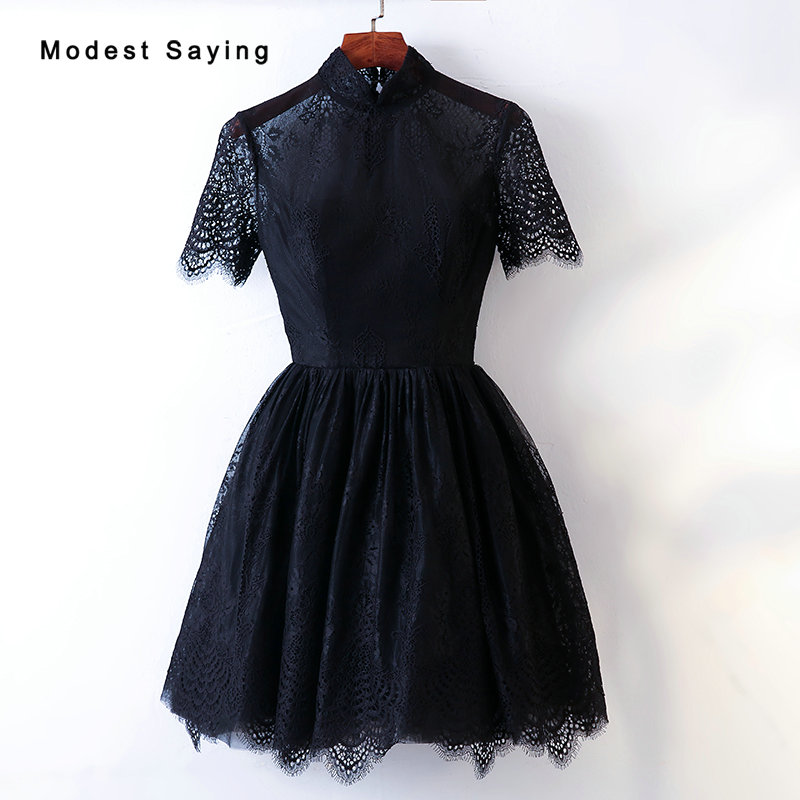 Black A-Line High Neck Short Sleeves Lace   Cocktail     Dresses   2019 Zipper Formal Mini Illusion Party Prom Gowns vestidos de coctel