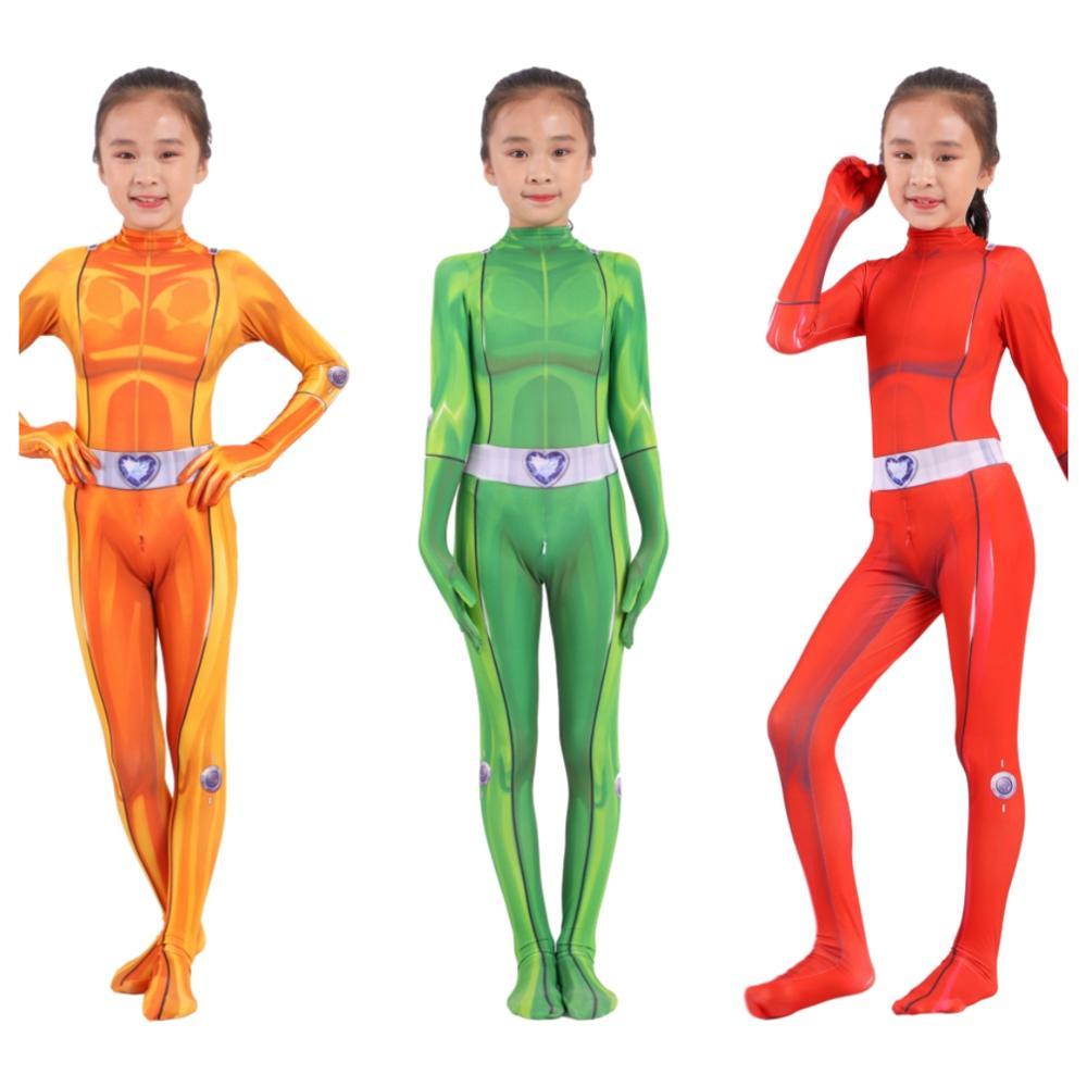 2019 Totally Spies Cosplay Costume Adult Kids Zentai Bodysuit Hero Jumpsuits Cosplay Halloween Kids Boy Girl Party Costume