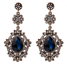 expensive large earrings white gold blue red 4 colors luxury jewelry great jewellery high quality big drop earring for women Big Luxury Korean Earrings for Women Statement Earring Fashion Jewelry Water Drop Crystal Gold Tone High Quality