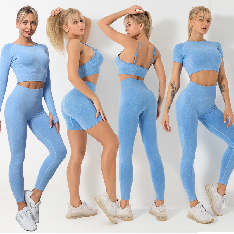 2/3/5PCS Seamless Women Yoga Set Gym Fitness Sportswear Long Sleeve Clothing High Waist Leggings Sport Suits