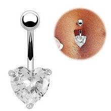 Venda quente estrela amor coração de cristal aço inoxidável barriga botão moda aço cirúrgico balançar barriga umbigo piercing