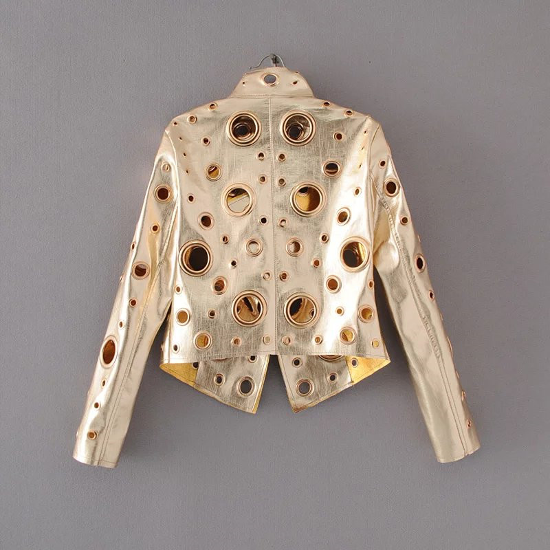 Jaqueta de couro curta feminina, jaqueta slim