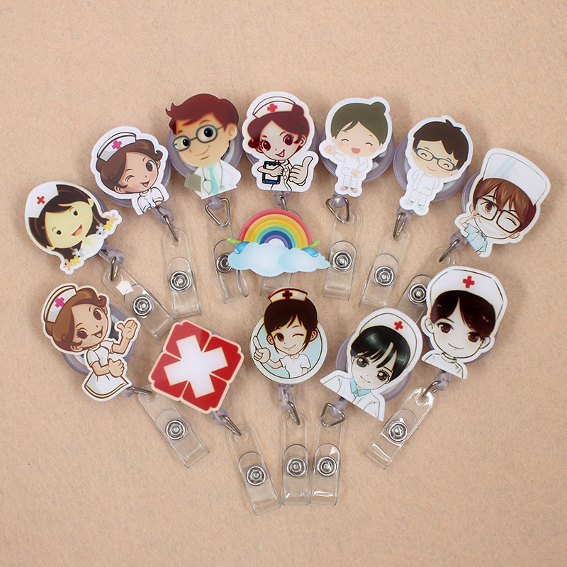 Cute Nurse Girls Retractable Plastic Badge Holder Reel Doctor For Exhibition ID Enfermera Names PU Card Hospital Boys Chest Card