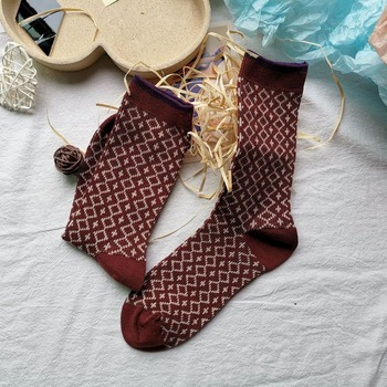 High-quality double-needle retro socks children small rhombus cotton hand sewing head pile socks tide stockings
