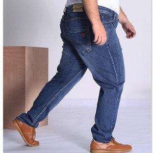 Image 5 - Black Jeans Men Blue Big Large Plus Size 46 48 50 52 150KG Mens Jean Elastic High Waist Man Loose Straight Denim Pants Trousers