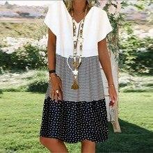 Nuevo verano de moda vestido de Patchwork de mujeres V-cuello de la ropa Casual de la rodilla-longitud cómodo de rayas vestido de las mujeres