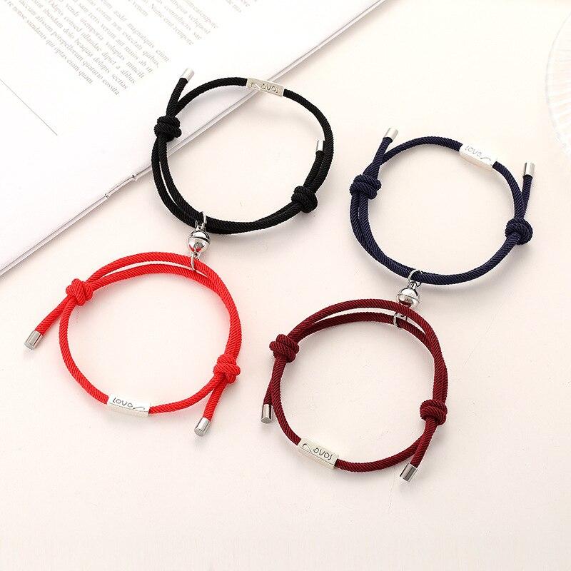 2pcs Couple Friendship Rope Magnet Bracelets Handmade Braided Magnetic Bracelet Kit Lover Mountain Ocean Jewelry Love Forever