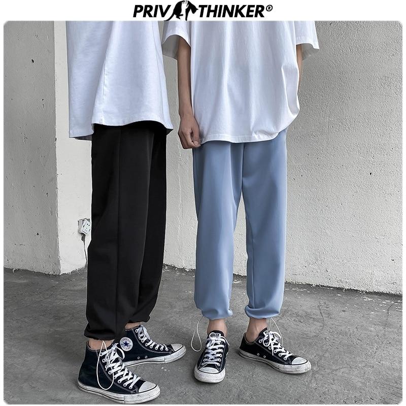 Privathinker Men Summer Casual 2020 Harem Pants Mens Breathable Straight Joggers Male Korean Trousers Fashion Ankle-length Pants