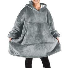 Sweat Plaid Blanket Oversized Hoodie Sweatshirt Winter Plaid Sweatshirt Hoodie Giant Women Fleece Blanket With Sleeves Bathrobe