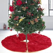 90cm Christmas Plush Tree Skirt Apron Carpet Rug Floor Mat corrosion resistant easy to clean Home Party Decoration Soft to feel