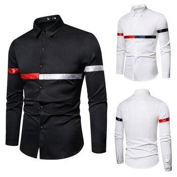 High Quality Fashion Men's Shirt Color Contrast Stitching Slim Shirt Black White Large Size S-5xl men s contrast color stitching pu leather jacket khaki size xl