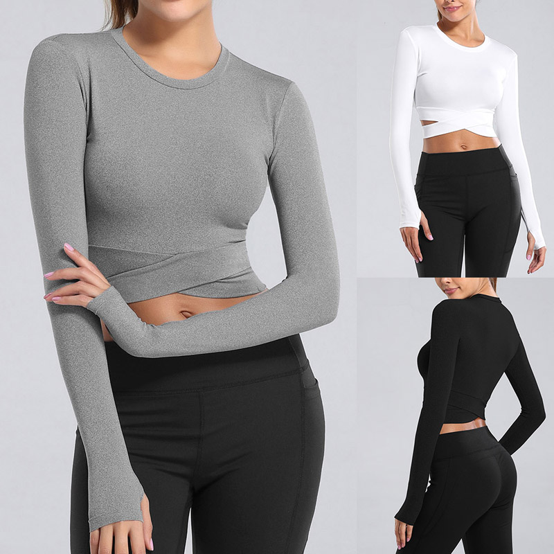 Women Long Sleeve Running Shirts Sexy Exposed Navel Yoga T-shirts Solid Sports Shirts Quick Dry Fitness Gym Crop Tops Sport Wear Sport9s