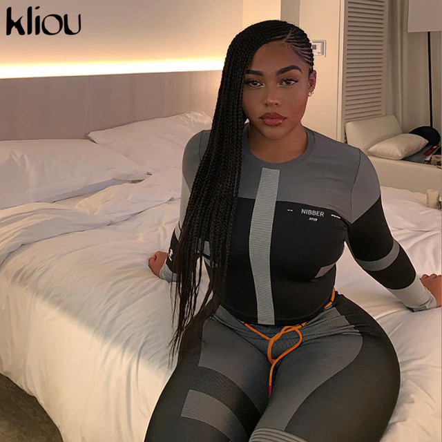 Kliou women fitness two pieces set tracksuit long sleeve crop top letters print elastic skinny leggings sportswear slim outfit 2