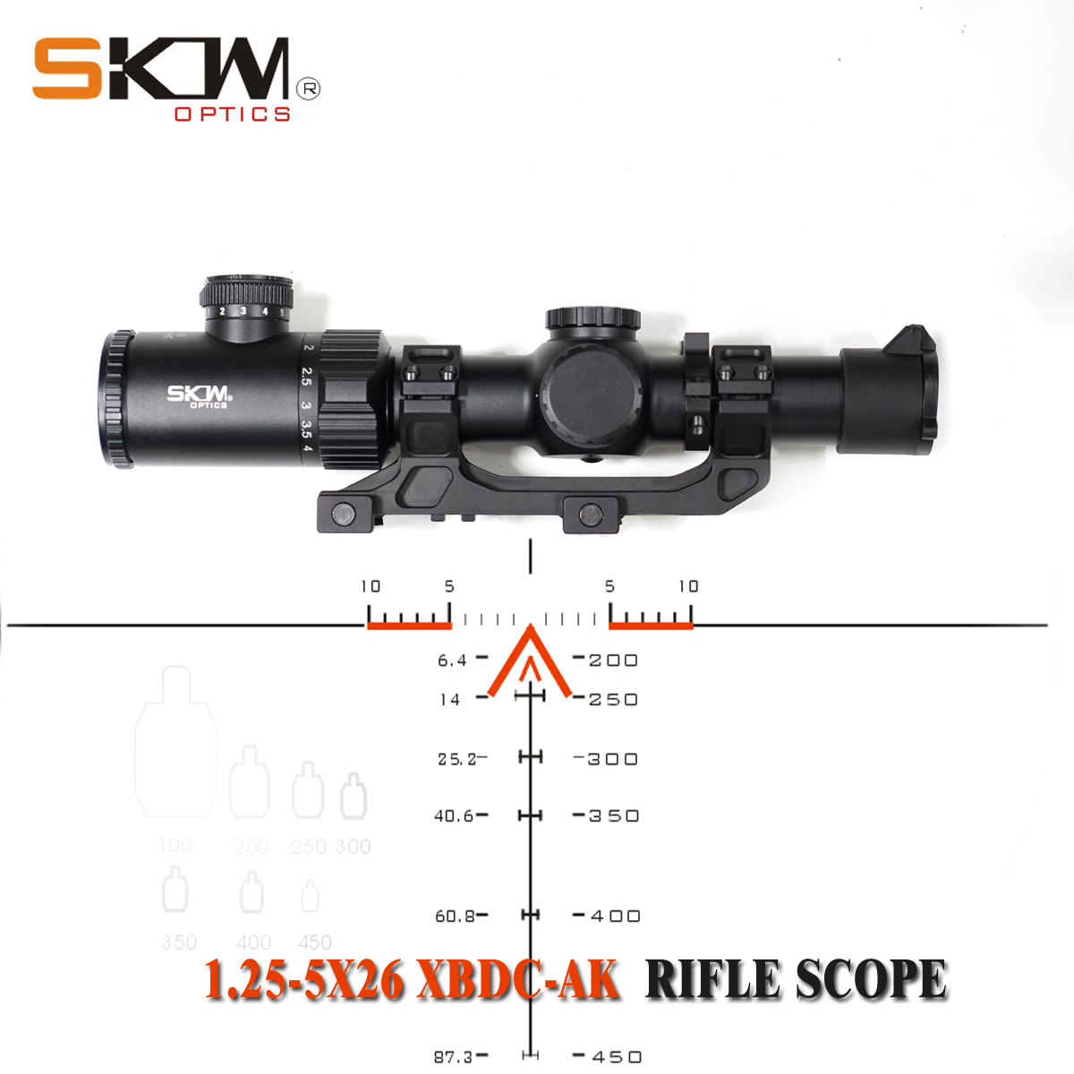 SKWoptics 1.25-5x26A Tactical Riflescopes Hunting For AK AR, M4 Kalashnikov Sight Rifle Scope BDC Reticle  30mm One Piece Mount