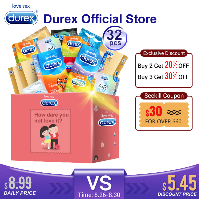 Durex Condom Mix 32Pcs AiR Ultra Thin Intimate Goods Contraception Sex Products Natural