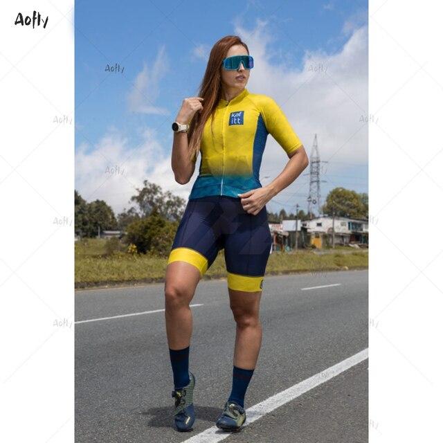 Kafitt amarelo azul manga curta casal ciclismo triathlon terno ciclismo skinsuit maillot ropa ciclismo mtb bicicleta macacão verão roupas com frete gratis  Casal amarelo com macacão triathlon casal roupas com frete gra 5