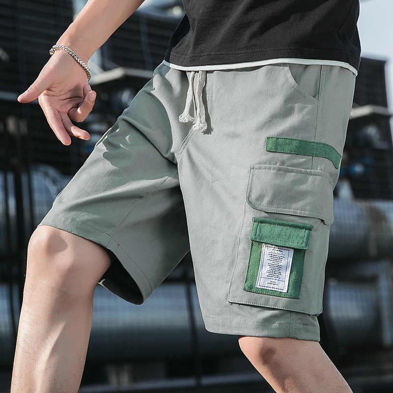 Pria Celana Pendek Keringat Hip Hop Streetwear Militer Musim Panas Kapas Mens Bermuda Shorts 2020 Loose Cargo Pria Celana Pendek
