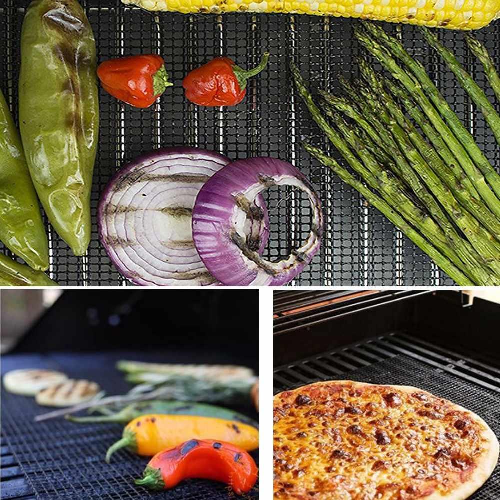 Grelhador de churrasco malha antiaderente esteira reutilizável folha resistente cozinhar cozimento churrasco almofada forno cozinhar forro grill acessórios