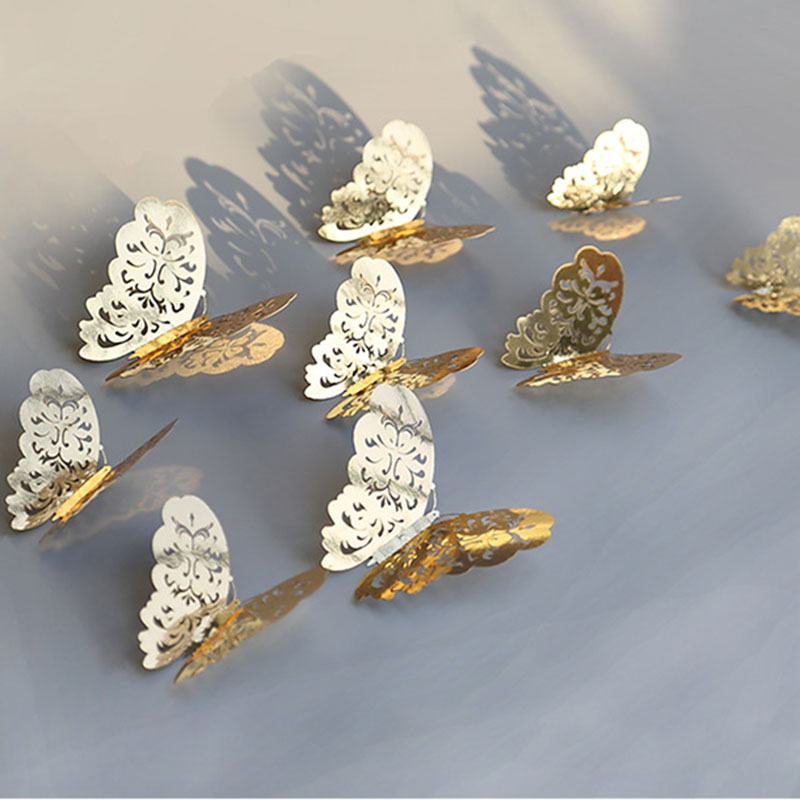 12Pcs/lot 3D Hollow Golden Silver Butterfly Wall Stickers Art Home Decorations Wall Decals For Party Wedding Display Butterflies